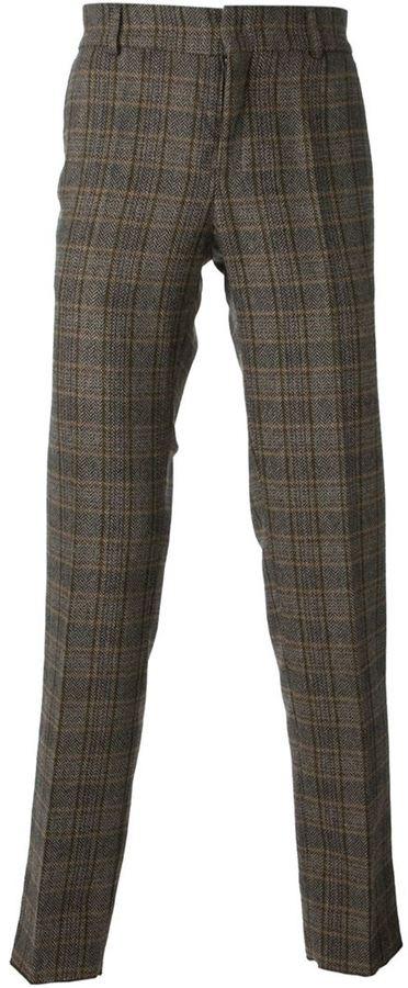 Pantalon de costume en laine écossais marron Stella Jean