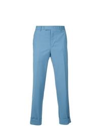 Pantalon de costume en laine en pied-de-poule bleu CK Calvin Klein
