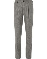 Pantalon de costume en laine en pied-de-poule marron Brunello Cucinelli