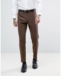 Pantalon de costume en laine en vichy brun Asos