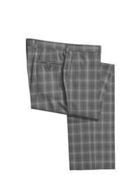 Pantalon de costume en laine en vichy gris