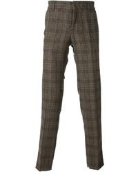 Pantalon de costume en laine en vichy marron