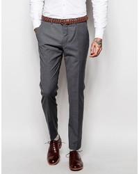 Pantalon de costume en laine gris foncé Asos
