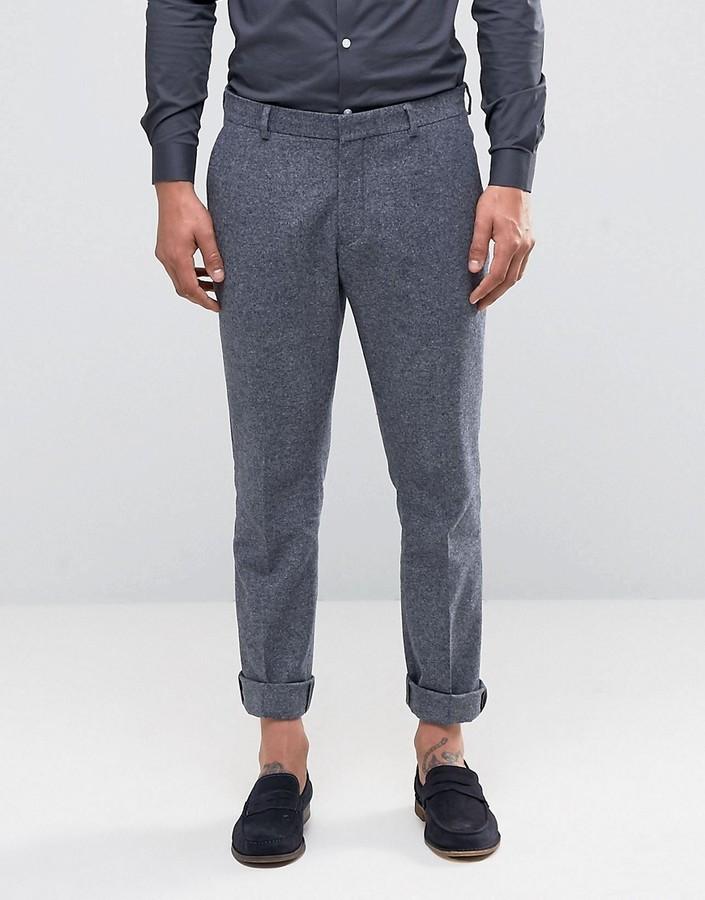 Pantalon de costume en laine gris foncé Selected