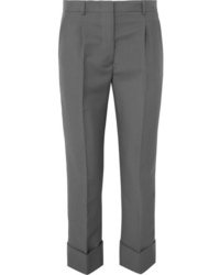 Pantalon de costume en laine gris Prada