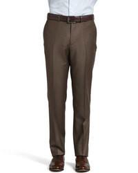 Pantalon de costume en laine marron foncé