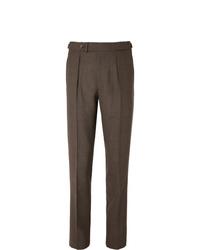 Pantalon de costume en laine marron foncé Berg & Berg