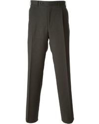 Pantalon de costume en laine marron foncé Canali