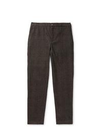 Pantalon de costume en laine marron foncé De Bonne Facture