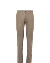 Pantalon de costume en laine marron Incotex