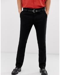 Pantalon de costume en laine noir Pier One