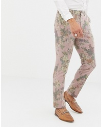 Pantalon de costume en laine rose
