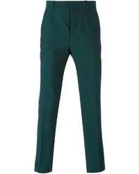 Pantalon de costume en laine vert foncé Marni