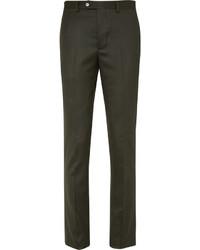 Pantalon de costume en laine vert foncé Officine Generale