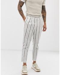 Pantalon de costume en lin à rayures verticales blanc ASOS DESIGN