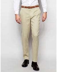 Pantalon de costume en lin beige Asos