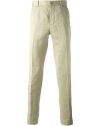 Pantalon de costume en lin beige Maison Martin Margiela