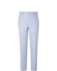 Pantalon de costume en lin bleu clair Anderson & Sheppard