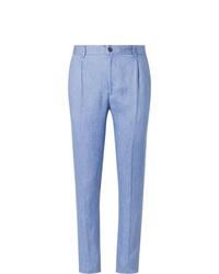 Pantalon de costume en lin bleu clair Tod's