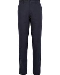 Pantalon de costume en lin bleu marine