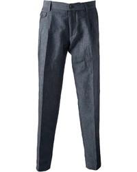Pantalon de costume en lin gris foncé Dolce & Gabbana