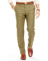 Pantalon de costume en lin olive
