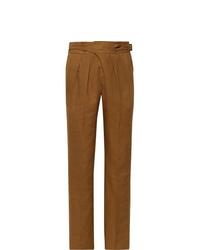 Pantalon de costume en lin tabac Rubinacci