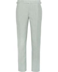 Pantalon de costume en lin vert menthe Richard James