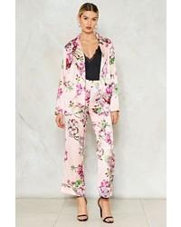 Pantalon de costume en satin à fleurs rose