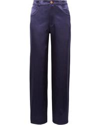 Pantalon de costume en satin bleu marine See by Chloe