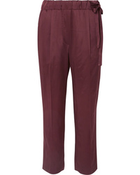 Pantalon de costume en satin bordeaux Brunello Cucinelli