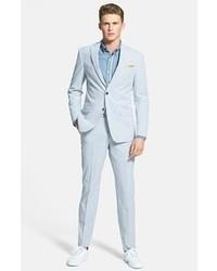 Pantalon de costume en seersucker à rayures verticales bleu clair