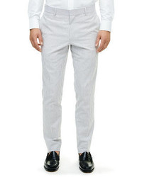 Pantalon de costume en seersucker gris