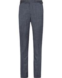 Pantalon de costume en soie bleu marine