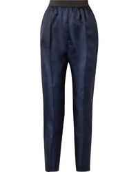 Pantalon de costume en soie bleu marine Albus Lumen