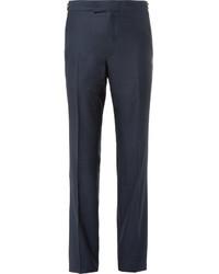 Pantalon de costume en soie bleu marine Kilgour