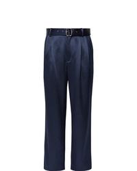 Pantalon de costume en soie bleu marine Sies Marjan