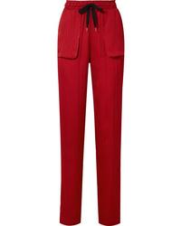 Pantalon de costume en soie rouge Roland Mouret
