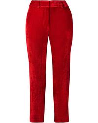 Pantalon de costume en soie rouge Sies Marjan