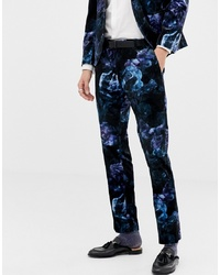 Pantalon de costume en velours à fleurs bleu marine Twisted Tailor