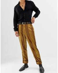 Pantalon de costume en velours à rayures verticales moutarde ASOS DESIGN