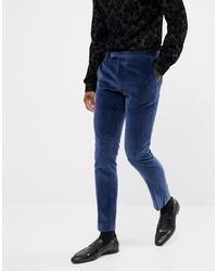 Pantalon de costume en velours bleu marine