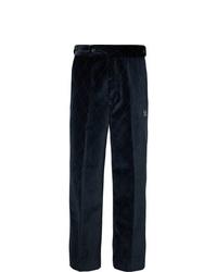 Pantalon de costume en velours bleu marine Needles