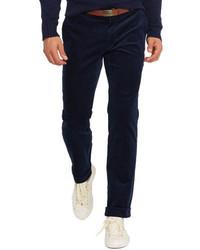 Pantalon de costume en velours côtelé bleu marine