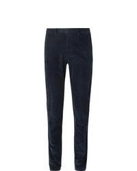 Pantalon de costume en velours côtelé bleu marine Boglioli
