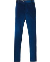 Pantalon de costume en velours côtelé bleu marine Etro