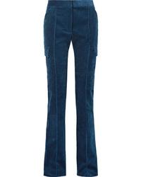 Pantalon de costume en velours côtelé bleu marine Stella McCartney