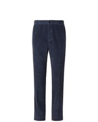 Pantalon de costume en velours côtelé bleu marine Thom Browne