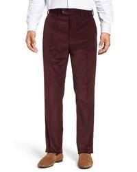 Pantalon de costume en velours côtelé bordeaux
