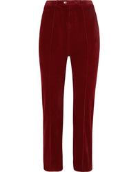 Pantalon de costume en velours côtelé bordeaux Chloé